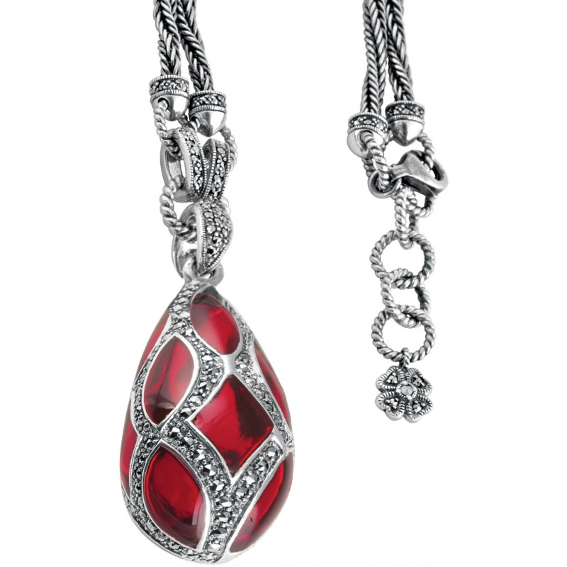 Nk503 red enamel and marcasite teardrop pendant on chain sterling nk503 red enamel and marcasite teardrop pendant on chain sterling silver ari d norman mozeypictures Image collections