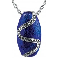 NK513   Blue Enamel and Marcasite Pendant on Chain Sterling Silver Ari D Norman