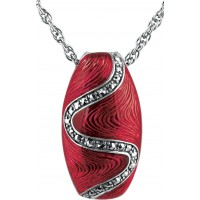 NK514   Red Enamel and Marcasite Pendant on Chain Sterling Silver Ari D Norman