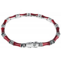 BT513   Red Enamel and Marcasite Bracelet Sterling Silver Ari D Norman