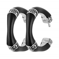 EA552   Black Enamel and Marcasite Bamboo Style Earrings Sterling Silver Ari D Norman