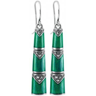 EA566   Green Enamel and Marcasite Bamboo Style Earrings Sterling Silver Ari D Norman