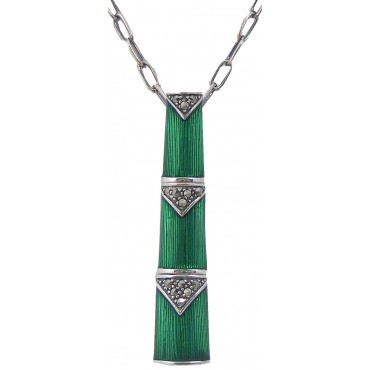 NK536   Green Enamel and Marcasite Set Bamboo Style Pendant and Chain Sterling Silver Ari D Norman