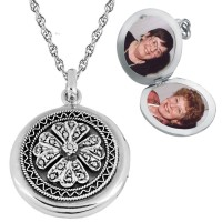 PT202   Marcasite Round Locket on Chain Sterling Silver Ari D Norman