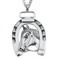 PT404   Lucky Horseshoe Pendant on Chain Sterling Silver Ari D Norman