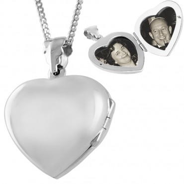 PT414   Plain Heart Shaped Locket on Chain Sterling Silver Ari D Norman