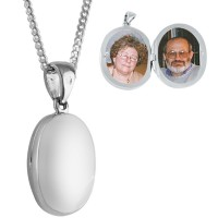 PT464   Small Plain Oval Locket on Chain Sterling Silver Ari D Norman