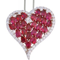 NK704 - Sterling Silver and Red Cubic Zirconia Heart Pendant on Chain