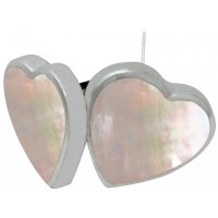 EA541   Crushed White Opal Resin Heart Earrings Sterling Sillver Ari D Norman