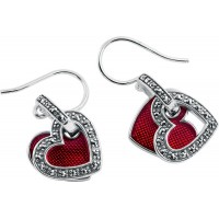 EA563   Red Enamel and Marcasite Double Heart Earrings Sterling Silver Ari D Norman