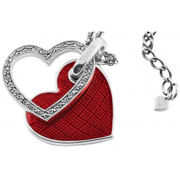 NK515   Red Enamel and Marcasite Double Heart Pendant on Chain Sterling Silver Ari D Norman
