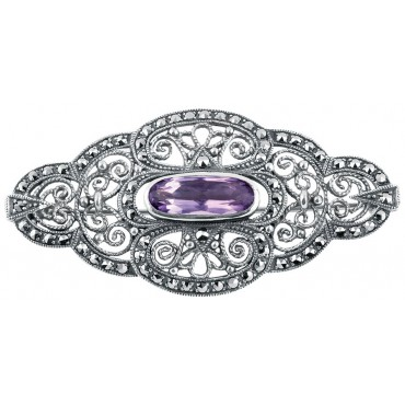 B285   Marcasite and Amethyst Victorian Style Brooch Sterling Silver Ari D Norman