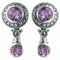 EA200 - Sterling silver amethyst and marcasite Victorian style earrings