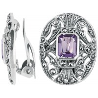 EA276   Amethyst and Marcasite Victorian Style Clip Earrings Sterling Silver Ari D Norman