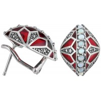EA509   Red Enamel, Marcasite and Opal Earrings Sterling Silver Ari D Norman