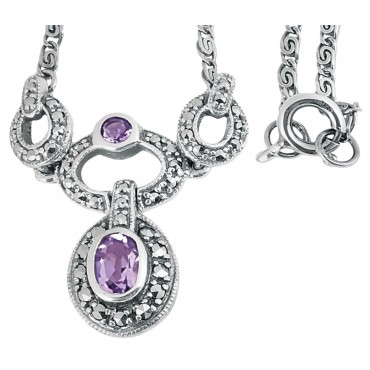 NK201 - Sterling silver marcasite and amethyst Victorian style necklace