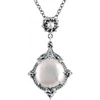 NK565   Cultured Pearl and Marcasite Set Pendant on Chain Sterling Silver Ari D Norman