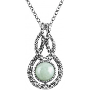 NK569   Jade and Marcasite Set Pendant on Chain Sterling Silver Ari D Norman