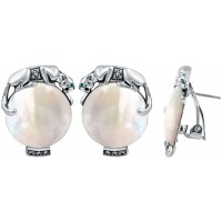 EA286   Mother of Pearl Panther Earrings Sterling Silver Ari D Norman