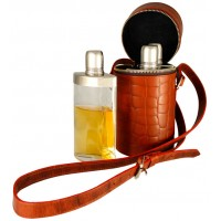LTHR121 Brown Croco Leather Triple Travel Bar Set