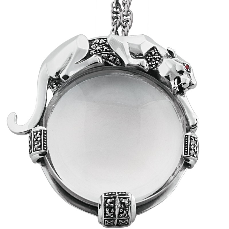 Pt205 panther magnifying glass pendant on chain sterling silver ari pt205 panther magnifying glass pendant on chain sterling silver ari d norman mozeypictures Image collections