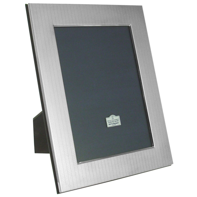 .925 Sterling Silver Photo Frame With Engraved Herringbone Pattern Made In  UK Photo Size 13cm X 9cm Or 5 Inch X 3.5 Inch .