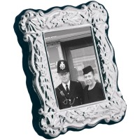 FR623 - Sterling silver Victorian style miniature photo frame with velvet back 4cm x 5 cm