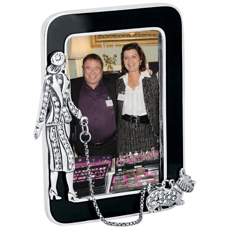 GT257 Miniature Photo Frame With Crystal Dog Walker Sterling Silver ...