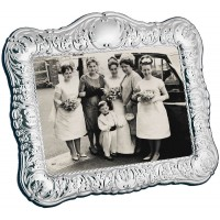 FR616 - Sterling silver Victorian style photo frame with velvet back 18cm x 13cm