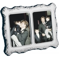 FR655   Victorian Style Double Photo Frame With Velvet Back 6cm x 9cm (x2) Sterling Silver Ari D Norman