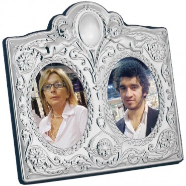 FR755   Victorian Style Double Photo Frame With Velvet Back 6cm x 8cm (x2) Sterling Silver Ari D Norman