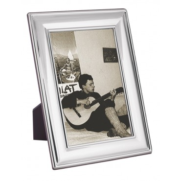 FR702   Plain Photo Frame With Wooden Back 13cm x 18cm Sterling Silver Ari D Norman