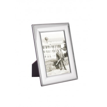 FR703   Beaded Photo Frame With Wooden Back 6cm x 9cm Sterling Silver Ari D Norman