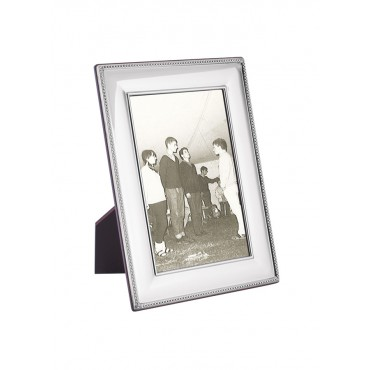 FR704   Beaded Photo Frame With Wooden Back 9cm x 13cm Sterling Silver Ari D Norman