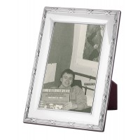 FR708   Ribbon And Reed Photo Frame With Wooden Back 13cm x 18cm Sterling Silver Ari D Norman