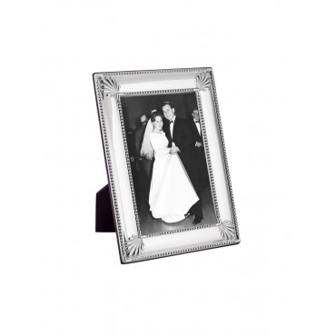 FR709   Shell And Bead Photo Frame With Wooden Back 6cm x 9cm Sterling Silver Ari D Norman