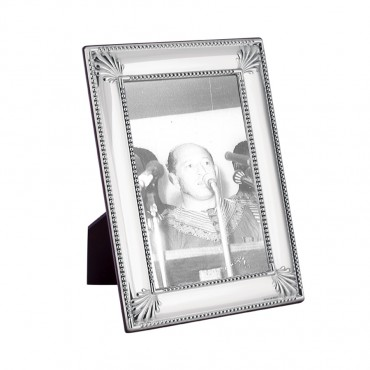 FR712   Shell And Bead Photo Frame With Wooden Back 10cm x 15cm Sterling Silver Ari D Norman