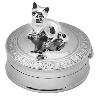 PB436 Ari D Norman Sterling Silver Cat Pill Box