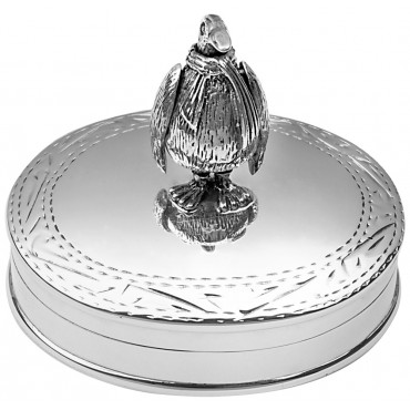 PB606   Ari D Norman Sterling Silver Pill Box with Moving Penguin