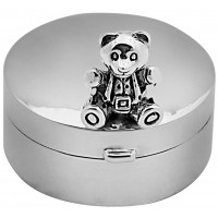 PB616   Ari D Norman Sterling Silver Teddy Bear Pill Box