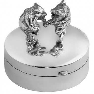 PB621   Ari D Norman Sterling Silver Pill Box with Dancing Bears