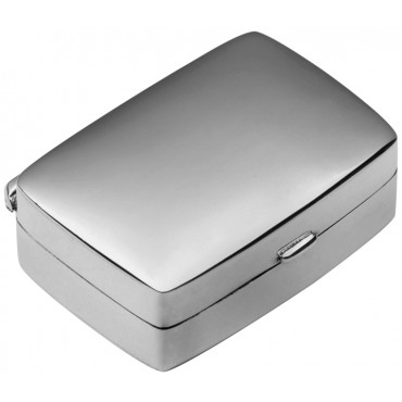 PB408   Ari D Norman Sterling Silver Small Plain Rectangular Hinged Pill Box
