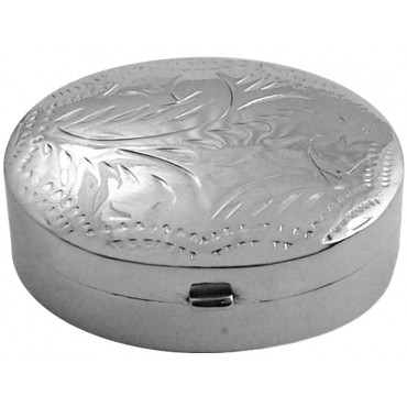 PB410   Ari D Norman Sterling Silver Small Engraved Oval Hinged Pill Box