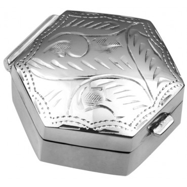 PB414   Ari D Norman Sterling Silver Small Engraved Hexagonal Hinged Pill Box