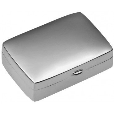 PB420   Ari D Norman Sterling Silver Medium Plain Rectangular Hinged Pill Box