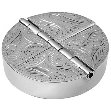 PB438   Ari D Norman Sterling Silver Four Compartment Engraved Round Pill Box