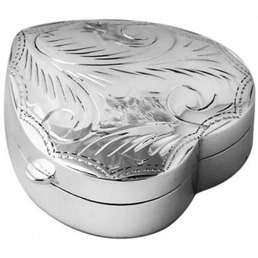 PB441   Ari D Norman Sterling Silver Medium Engraved Heart Hinged Pill Box