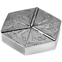 PB449   Ari D Norman Sterling Silver Six Compartment Engraved Hexagonal Pill Box