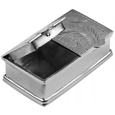 PB451   Ari D Norman Sterling Silver Two Compartment Engraved Rectangular Pill Box