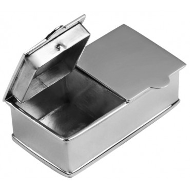 PB453   Ari D Norman Sterling Silver Two Compartment Plain Rectangular Pill Box